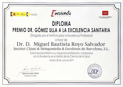 Certificado premio Gómez Ulla