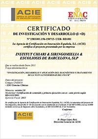 Certificado de Investigación y Desarrollo 2011