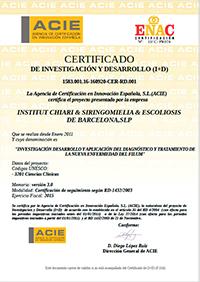 Certificado de Investigación y Desarrollo 2015
